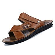 baratos Sapatos de Tamanho Pequeno-Homens Pele Napa Verão Conforto Sandálias Preto / Marron / Khaki