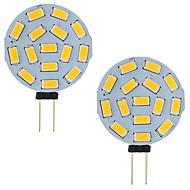 billige Bi-pin lamper med LED-3w led g4 bil marine camper rv 15 ledninger 5730 smd rund rekkevidde 120 grader AC / dc 12v - 24v kald / varm hvit (2 stk)