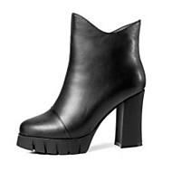 baratos Sapatos Femininos-Mulheres Sapatos Pele Napa Inverno Conforto / Botas da Moda Botas Salto Robusto Botas Curtas / Ankle Preto
