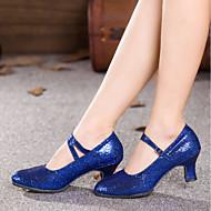 billige Kustomiserte dansesko-Dame Moderne sko Syntetisk Høye hæler / Joggesko Strå Kubansk hæl Kan spesialtilpasses Dansesko Rød / Blå / Rosa