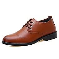 tanie Small Size Shoes-Męskie formalne Buty Skóra Jesień i zima Biznes / Klasyczny Oksfordki Czarny / Brązowy / Impreza / bankiet