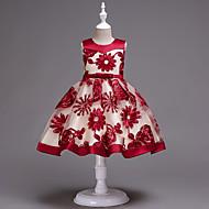 Παιδιά / Νήπιο Κοριτσίστικα Γλυκός / χαριτωμένο στυλ Πάρτι / Σαββατοκύριακο Φλοράλ Αμάνικο Ως το Γόνατο Φόρεμα Ρουμπίνι