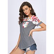 여성용 줄무늬 / 플로럴 / 기하학 프린트 - 티셔츠, 스트리트 쉬크