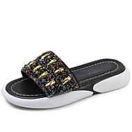 baratos Sapatos Femininos-Mulheres Couro Ecológico Verão Chanel Chinelos e flip-flops Creepers Branco / Preto