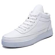 baratos Sapatos Masculinos-Homens Couro Ecológico Outono Conforto Tênis Branco / Preto