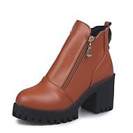 baratos Sapatos Femininos-Mulheres Curta/Ankle Couro Ecológico Outono Botas Salto Robusto Ponta Redonda Preto / Cinzento / Castanho Claro