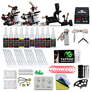 abordables Tatouage, Body Art-DRAGONHAWK Machine à tatouer Kit pour débutant - 3 pcs Machines de tatouage avec 10 x 5 ml encres de tatouage, Niveau professionnel, Tension Réglable, Facile à installer Alliage LCD alimentation Case