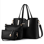 Women s Bags Polyester Bag Set 3 Pcs Purse Set Zipper Black   Silver   Wine 995dee8534