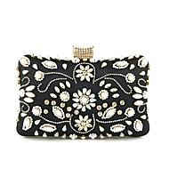 baratos Clutches & Bolsas de Noite-Mulheres Bolsas Algodão Bolsa de Mão Miçangas / Detalhes em Cristal Floral Preto / Dourado Claro