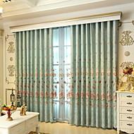 billige Gardiner-gardiner gardiner Stue Blomstret / Geometrisk Polyester Broderi