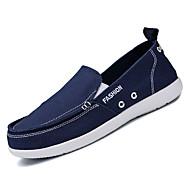 tanie Obuwie męskie-Męskie Płótno Jesień Comfort Mokasyny i pantofle Dark Blue / Gray / Niebieski