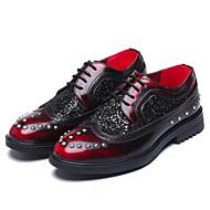 baratos Sapatos Masculinos-Homens Sapatos de vestir Microfibra Primavera / Outono Vintage Oxfords Não escorregar Gradiente Preto / Vermelho Escuro / Gliter com Brilho / Festas & Noite
