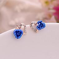 Γυναικεία Cubic Zirconia Κουμπωτά Σκουλαρίκια - Καρδιά, Λουλούδι Ρομαντικό, Γλυκός, Κομψό Βυσσινί / Κόκκινο / Μπλε Για Δώρο Ημερομηνία