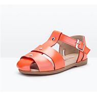 baratos Sapatos de Menina-Para Meninas Sapatos Pele Verão Conforto Sandálias Corrida para Preto / Laranja / Castanho Claro