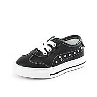 baratos Sapatos de Menina-Para Meninas Sapatos Pele Primavera & Outono Conforto Tênis Cadarço para Infantil Branco / Preto