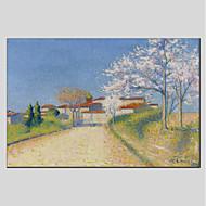 billiga Landskapsmålningar-Hang målad oljemålning HANDMÅLAD - Landskap Moderna Inkludera innerram / Sträckt kanfas