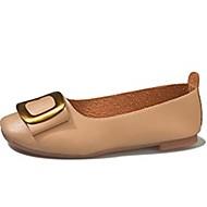 baratos Sapatos Femininos-Mulheres Sapatos Confortáveis Couro Ecológico Verão Rasos Sem Salto Ponta Redonda Bege / Castanho Claro