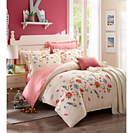 tanie Floral Duvet Okładki-Zestawy kołdra okładka Kwiaty 100% bawełna Drukowane 4 elementy / 400