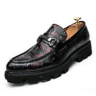 baratos Super Ofertas-Homens Sapatos Confortáveis Couro Ecológico Outono Negócio Mocassins e Slip-Ons Não escorregar Estampa Colorida Preto / Vermelho / Azul