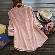 Høj krave Tynd Dame - Ensfarvet Bomuld Plusstørrelser Skjorte