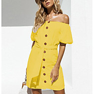 Women's Holiday Going out Mini Shift Dress - Solid Colored Off Shoulder Summer Yellow Wine Royal Blue M L XL