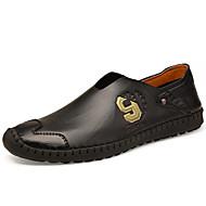 tanie Obuwie męskie-Męskie Skórzane buty Skóra Wiosna / Jesień Na co dzień Mokasyny i buty wsuwane Czarny / Wino / Light Brown