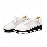 baratos Sapatos Femininos-Mulheres Sapatos Confortáveis Couro Ecológico Outono Tênis Sem Salto Branco / Preto / Prateado