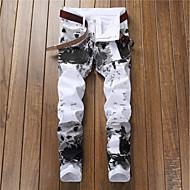 男性用 ストリートファッション コットン スリム チノパン パンツ - 幾何学模様 プリント ホワイト / 春 / 秋