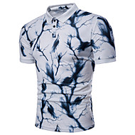 Men's Basic Slim Polo - Color Block Blue & White, Print Blue XL / Short Sleeve