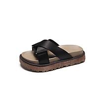 baratos Sapatos Femininos-Mulheres Seda Verão Conforto Chinelos e flip-flops Creepers Preto / Verde