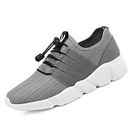 baratos Sapatos Masculinos-Homens Couro Ecológico / Tecido elástico Primavera Conforto Tênis Caminhada Preto / Cinzento