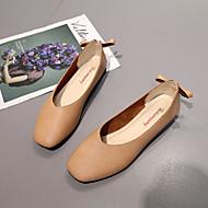 baratos Sapatos Femininos-Mulheres Couro Ecológico Verão Conforto Rasos Sem Salto Ponta quadrada Branco / Bege / Castanho Claro