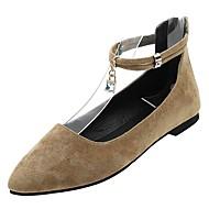 baratos Sapatos Femininos-Mulheres Couro Ecológico Outono Tira no Tornozelo Rasos Sem Salto Dedo Apontado Preto / Khaki
