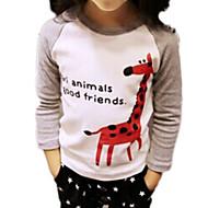 Børn Pige Ensfarvet / Trykt mønster Langærmet T-shirt