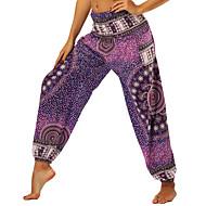 Mulheres Harém Calças de Yoga Ametista Esportes Floral Calçolas Calças Zumba Dança do Ventre Fitness Roupas Esportivas Leve Respirável Pavio Humido Macio Sem Elasticidade Solto