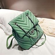 baratos Mochilas-Mulheres Bolsas PU mochila Botões Verde / Branco / Preto