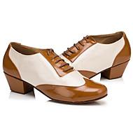 billige Moderne sko-Dame Moderne sko PU Oxford / Høye hæler Tykk hæl Dansesko Gul-Hvit