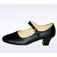 billige Moderne sko-Dame Moderne sko Lær Høye hæler Tykk hæl Dansesko Svart