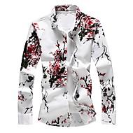 povoljno -Veći konfekcijski brojevi Majica Muškarci - Osnovni Dnevno / Izlasci Pamuk Cvjetni print Slim, Print Red / Dugih rukava