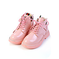 tanie Obuwie dziewczęce-Dla dziewczynek Obuwie Skóra patentowa / PU Wiosna i lato Wygoda / Obuwie w stylu wojskowym Botki Spacery Sznurowane / Materiały łączone na Dzieci Czarny / Czerwony / Różowy