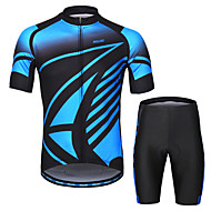 Arsuxeo Men's Short Sleeves Cycling Jersey with Shorts - Blue Bike Clothing Suit 3D Pad Sports Painting Mountain Bike MTB Road Bike Cycling Clothing Apparel / Micro-elastic