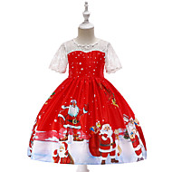 cheap -Kids / Toddler Girls' Vintage / Active Christmas / Party / Holiday Cartoon Short Sleeve Knee-length Dress Red 3-4 Years(110cm)