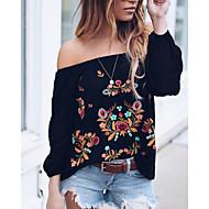 Mulheres Blusa / Camisa Social Floral Decote Canoa