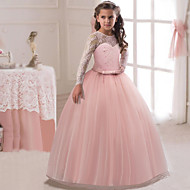 Χαμηλού Κόστους -Παιδιά Κοριτσίστικα Ενεργό / Γλυκός Πάρτι / Αργίες Μονόχρωμο Μακρυμάνικο Μακρύ Φόρεμα Βυσσινί 150