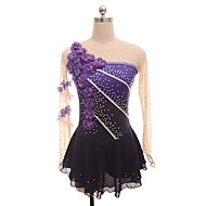 cheap -Figure Skating Dress Women's / Girls' Ice Skating Dress Purple Flower Halo Dyeing Spandex Micro-elastic Professional / Competition Skating Wear Floral / Botanical / Fashion / Rhinestone Long Sleeve