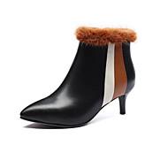 baratos Sapatos Femininos-Mulheres Curta/Ankle Pele Napa Outono / Inverno Botas Salto Agulha Dedo Apontado Botas Curtas / Ankle Penas Preto