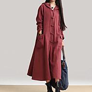 여성용 플러스 사이즈 베이직 면 시프트 드레스 - 솔리드 맥시