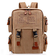 cheap High School Bags-Unisex Bags Canvas Backpack Zipper Black / Coffee / Khaki