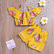 cheap -Kids Girls' Boho Daily Sun Flower Floral Print Sleeveless Short Short Spandex Clothing Set Yellow