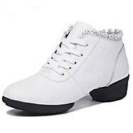 billige Moderne sko-Dame Moderne sko Nappa Lær Joggesko Tykk hæl Dansesko Hvit / Svart / Rød